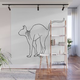 Sphynx Cat Arching Its Back - Naked Cat -  Simple Line - Minimal Wall Mural