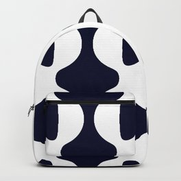 GROOVY RETRO WAVY NAVY AND WHITE STRIPES Backpack
