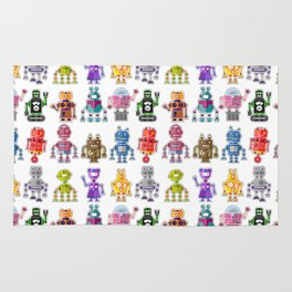 Cute colorful robots Rug