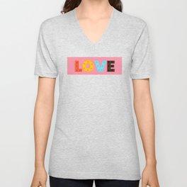 happy LOVE - typography Unisex V-Neck