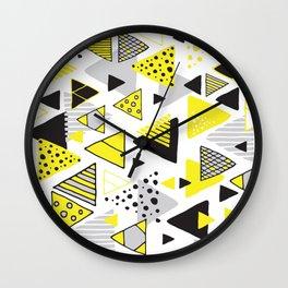 Triangles, random triangles (on white) Wall Clock