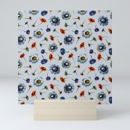 Scabiosa floral pattern 2 Mini Art Print
