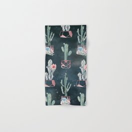 Rose Gold Desert Potted Cactuses and Succulents Night Sky Hand & Bath Towel