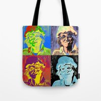 marylin monroe Tote Bags featuring Pumpkin woman goes Marylin Monroe by Anki Hoglund