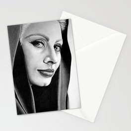 Sophia Loren Drawing By Faten  Stationery Cards