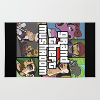 grand theft auto Area & Throw Rugs featuring Grand Theft Mushroom by Ben Clark