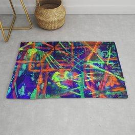 Criss cross neon blacklight Rug