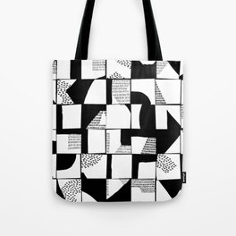 Black and White Typographical Fragmentation Cheater Quilt Tote Bag