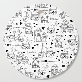 Hello Amsterdam Dutch Hipster travel icons bike and windmill Cutting Board
