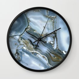Golden Aqua Marble Wall Clock