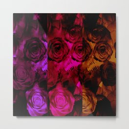 Multi Shaded Paneled Rose Design Metal Print