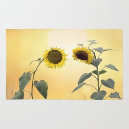 Beautiful blossom of sunflowers Rug