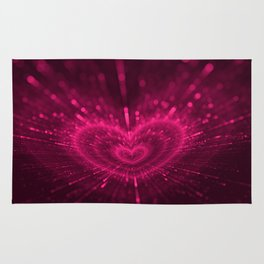 Purple Love Heart, Happy Valentine's Day Pattern Rug