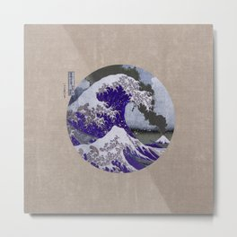 The Great Wave off Kanagawa Blue and Tan Metal Print