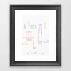 New York Skyline One WTC Poster Pastel Framed Art Print