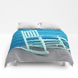Coastal Beach House Art - Blue Rocking Chair - Sharon Cummings Comforters