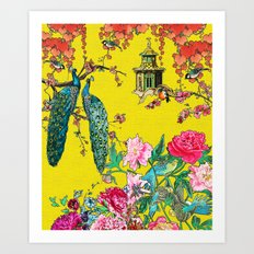 Vintage Oriental Peacocks, Peonies, Birds & Pagodas Print Art Print