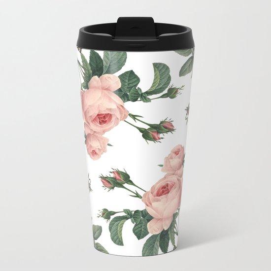 Rose Garden Butterfly Pink on White Metal Travel Mug