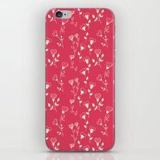 Doodle floral pattern in red iPhone Skin