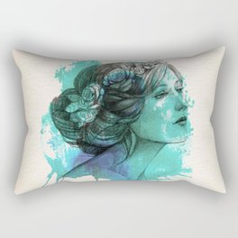 face beautiful girl drawe splash Rectangular Pillow