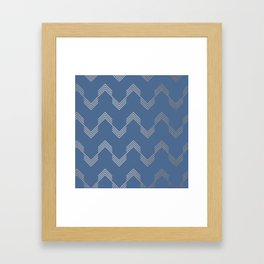Simply Deconstructed Chevron White Gold Sands  on Aegean Blue Framed Art Print