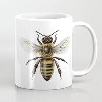 bee Mugs featuring Bee by Paper Skull Studios