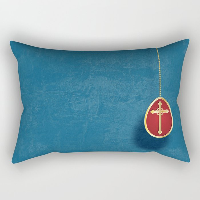 Gold and red egg on blue Rectangular Pillow