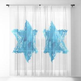 Star of David Blue Watercolor Sheer Curtain
