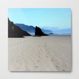 Footpirnts In The Sand Metal Print