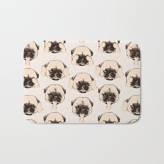 No Evil Pug Bath Mat