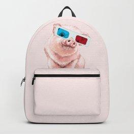 Baby Pink Pig Wear Glasses Pink Backpack