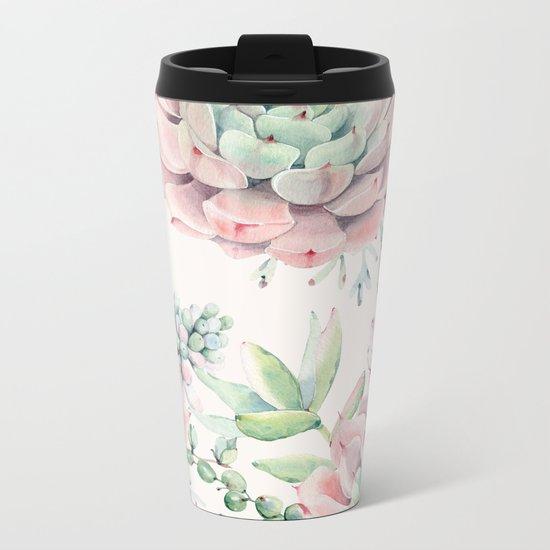 Pink Succulents on Cream Metal Travel Mug