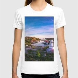 Sunset over old fishing port - Aerial Photography T-shirt
