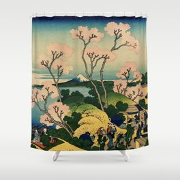 "Hokusai (1760–1849) ""Goten-yama-hill, Shinagawa on the Tōkaidō"" Shower Curtain"