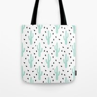 coachella Tote Bags featuring Cactus - modern minimal pattern print triangles geometric trendy hipster coachella festival  by CharlotteWinter