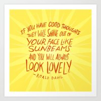 roald dahl Art Prints featuring Roald Dahl on Positive Thinking by Josh LaFayette