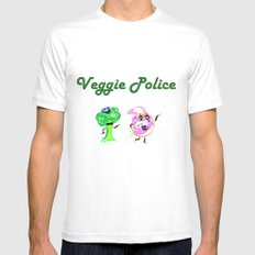 Veggie Police Mens Fitted Tee MEDIUM White