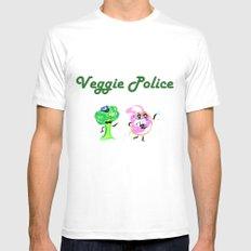 Veggie Police MEDIUM Mens Fitted Tee White