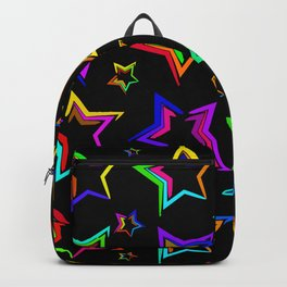 Neon bright stars. The pattern and the background of the stars on a black background Backpack