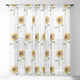 Yellow Sunflower Painting Sheer Curtain