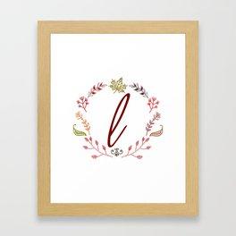 Floral L letter Framed Art Print