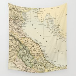 Retro & Vintage Map of Northern Italy Wall Tapestry