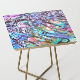 Shimmery Rainbow Abalone Mother of Pearl Side Table