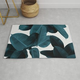 Indigo Blue Plant Leaves Rug