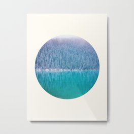 Mid Century Modern Round Circle Photo Frosty Pine Trees Meets Cool Blue Lake Metal Print