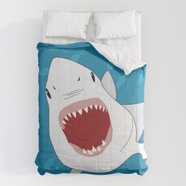 Shark Attack Underwater With Fish Swimming In The Background Comforters