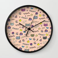 meow Wall Clocks featuring meow by galactikat