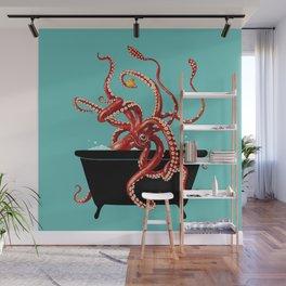Giant Squid in Bathtub Wall Mural
