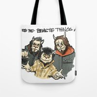 beastie boys Tote Bags featuring Where The Beastie Things Are by Derek Salemme