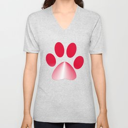 Red and White Gradient Paw Unisex V-Neck